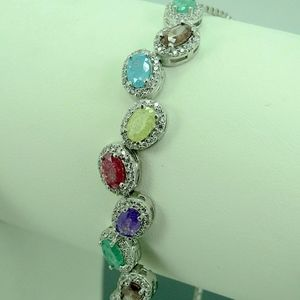 Crafted 925 Silver Gemstone Bracelet